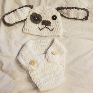 Photo prop puppy hat and diaper set